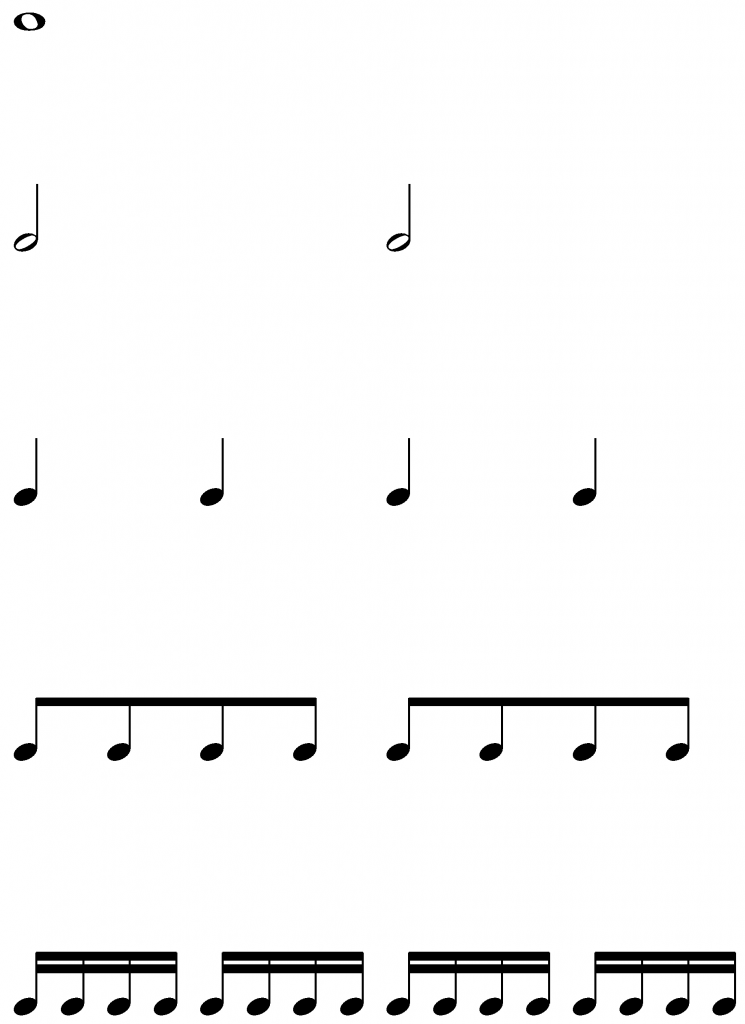 Basic Note Types (Stems UP) – MUSIC FREEDOM